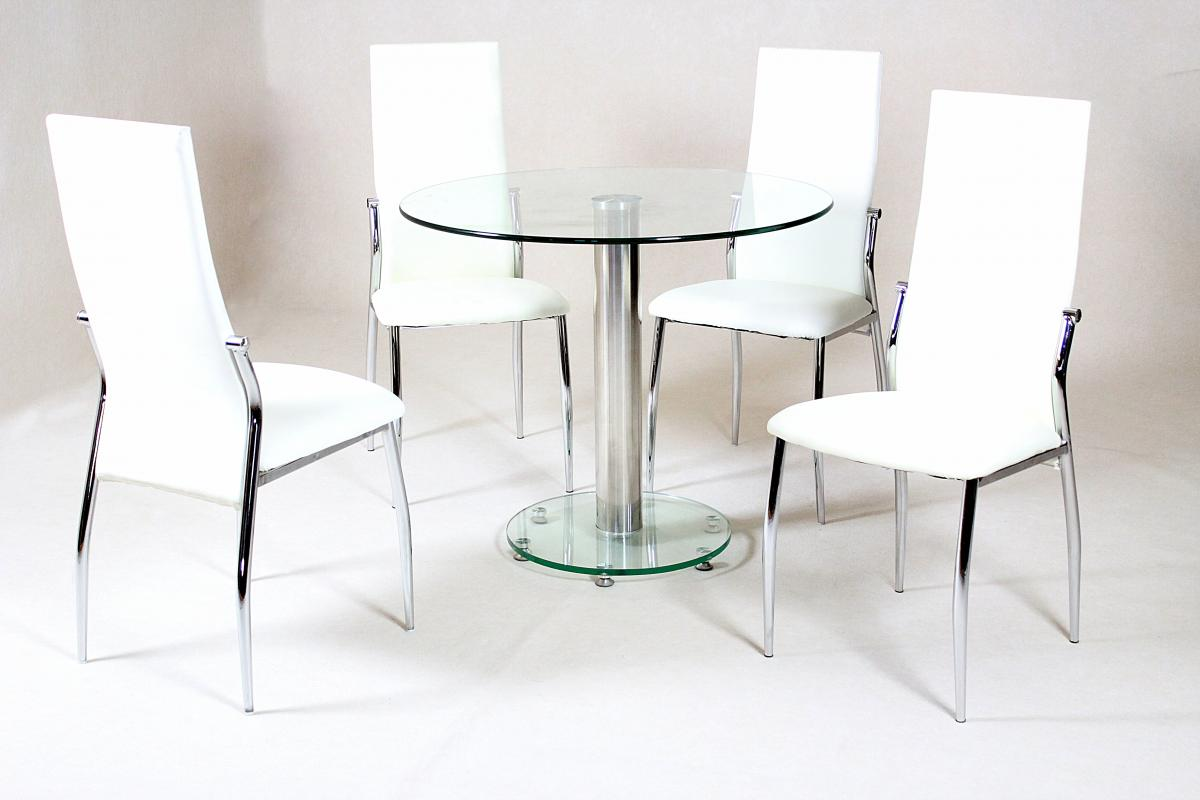 Alonza Clear Dining Table With Lazio Chairs